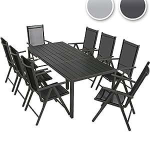9 teilige gartengarnitur alu sitzgarnitur farbwahl sitzgruppe mit glastisch. Black Bedroom Furniture Sets. Home Design Ideas