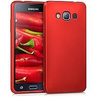 kwmobile Cover per Samsung Galaxy J3 (2016) DUOS - Custodia in silicone TPU - Back case protezione posteriore per cellulare rosso scuro metallizzato