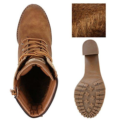 Damen Schnürstiefeletten Worker Boots Stiefeletten Block Absatz Hellbraun