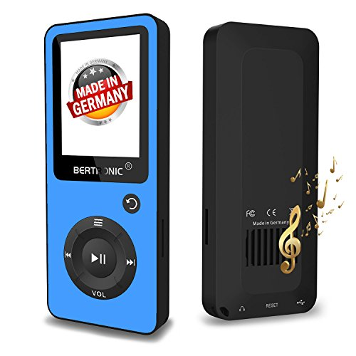 BERTRONIC Made in Germany BC02 Royal MP3-Player, 16 GB ★ Bis 100 Stunden Wiedergabe ★ Radio | Portabler Player mit Lautsprecher | Audio-Player für Sport mit Micro SD-Karte & Silikonhülle