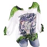TianWlio Damen Langarmshirt Bluse T-Shirt Tops Frauen V-Ausschnitt mit Langen Ärmeln Druck Plus Größe Tops Lose Bluse