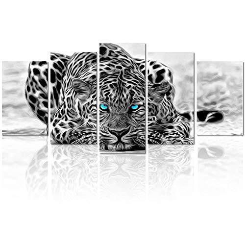 DKMDT Decoración Moderna Lienzo Pintura Vintage Blanco y Negro Animal, Leopardo Atractivo