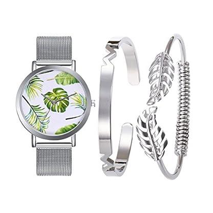 Souarts-Damen-Geschenkset-Armbanduhr-Quartzuhr-Analog-mit-Batterie-mit-Armband-Armreif-Set-Tropische-Bltter-Silber-Farbe