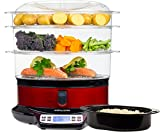 Andrew James Electric Food Steamer with Rice Dish 3 Tier 9L - LCD Digital Display 6 Pre-Set Functions Water Level Indicator - Includes Recipe Suggestions - Red and Black