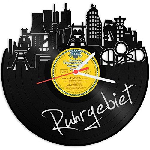 Wanduhr aus Vinyl Schallplattenuhr Skyline Ruhrgebiet Upcycling Design Uhr Wand-Deko Vintage-Uhr Wand-Dekoration Retro-Uhr Made in Germany