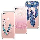 HopMore 3X Coques Coque iPhone 7 / iPhone 8 Transparente Motif Mandala Fleur Swag...