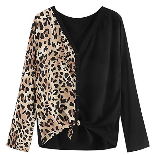 Luckycat Ropa Camisetas Mujer, Estampado de Leopardo Patchwork Blusa para Mujer Camisetas Mujer Camisas Mujer Tops Tallas Grandes Mujer