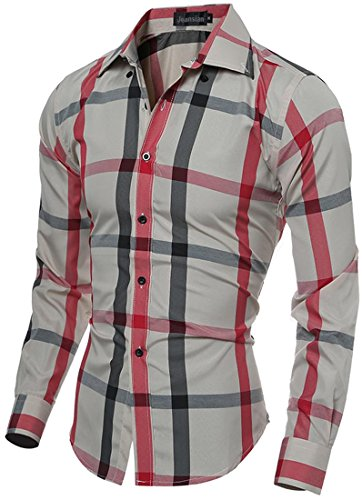 Jeansian Hommes Chemise Manches Printing Lattice Longues Slim Fit Casual Mens Fashion Shirt 84B0 Beige&Red