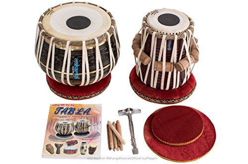 Maharaja Black Painted Tabla Drum Set, Brass Bayan, Finest Dayan with Book, Hammer, Cushions and Cover (pdi-ea)