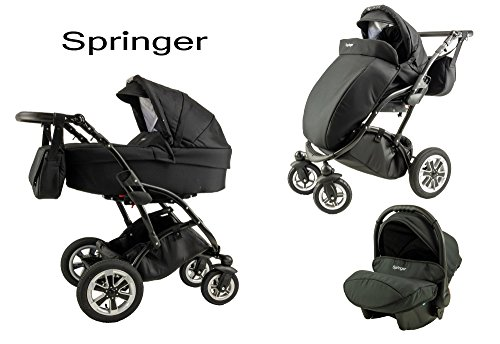 Springer Kombikinderwagen 3 in 1 Set Kinderwagen Black Edition Sportwagen Buggy Baby Erstausstattung