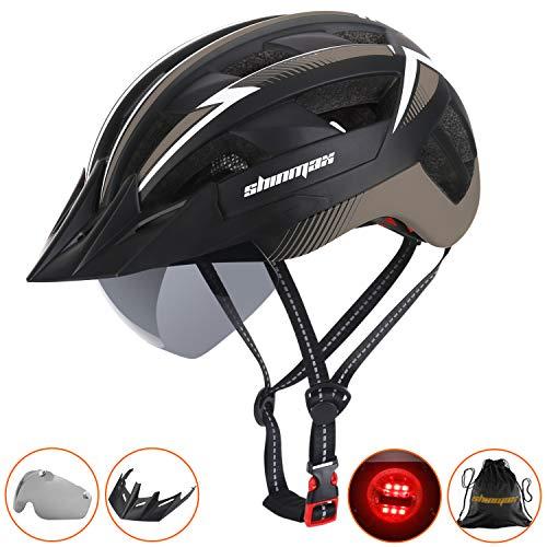 Shinmax Fahrradhelm mit LED-Licht CE-Zertifikat,Fahrradhelm mit Abnehmbarer Schutzbrille Visor Shield für Männer Frauen Mountain & Road Fahrradhelm Einstellbarer...