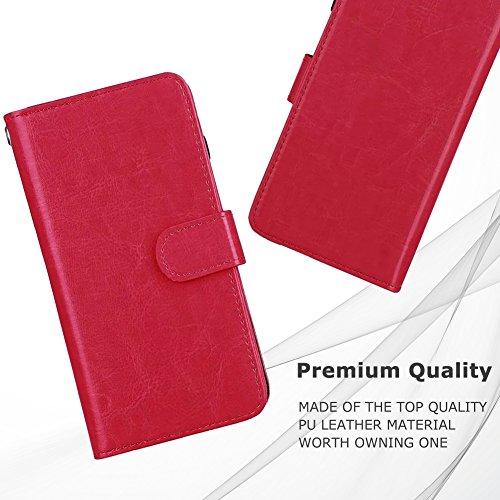 Custodia a portafoglio con porta carte di credito, blu, For iPhone 6 Plus/6s Plus Red