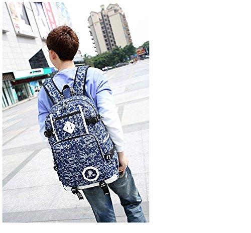 Ohmais Rücksack Rucksäcke Rucksack Backpack Daypack Schulranzen Schulrucksack Wanderrucksack Schultasche Rucksack für Schülerin blau Blume