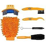easycat 6Fahrrad Clean Pinsel Kit/Reinigung Werkzeug für Bike Kette/Kurbel/Reifen/Ritzel Ecke Fleck Schmutz reinigen, passend für alle Bike, gelb