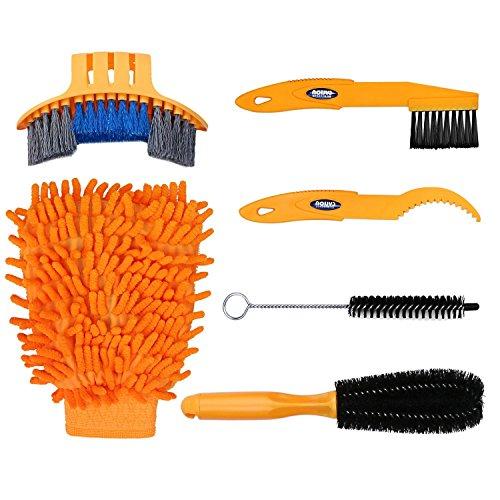 gzcrdz 6Fahrrad Clean Pinsel Kit/Reinigung Werkzeug für Bike Kette/Kurbel/Reifen/Ritzel Ecke Fleck Schmutz reinigen, passend für alle Bike, gelb