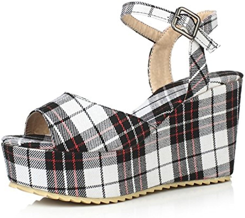 ZHZNVX Primavera/verano estilo pendiente dulce con muffins zapatos de plataforma sandalias de tacón alto palabra... -