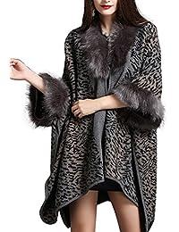 Femme Cape Poncho à Leopard Mode Fourrure Fausse Élégant Châle Cardigan de  Cocktai Soirée Chic Beunique b0b857f7f1e