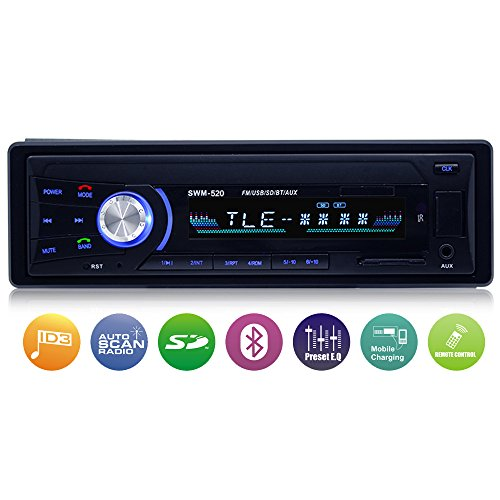 Autoradio mit Bluetooth Freisprecheinrichtung, Single-Din-Universal-Autoradio, AM/FM/USB/TF MP3-Media-Player, Drahtlose Fernbedienung enthalten - Audio-pioneer-cd Car
