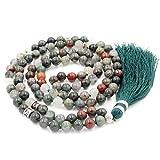 Mala Perlen Halskette, mala perlen Armband, buddhistische gebetsperlen Halskette, Lappen Halskette, afrikanisches Blut Stein mala perlen