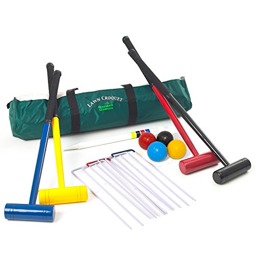 Lawn Croquet Set - 4 Player Set with 77 Centimetre Long Mallets in a Strong Durable Zipped Bag from Garden Games