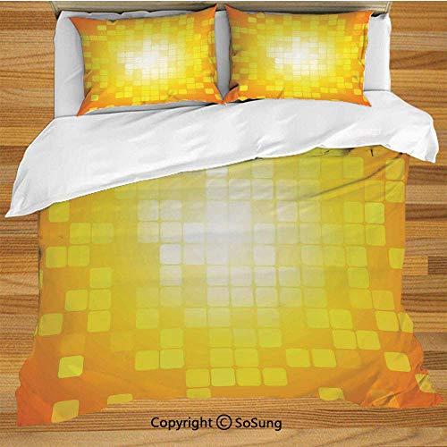 Soefipok Gelb Bettwäsche Bettbezug Set, Mosaik Retro Quadrat Formen und Muster Pixel Strahlen Chic Zeitgenössisches Grafikdesign Dekorative 3 Stück Bettwäsche Set mit 2 Kissenbezügen, Orange Gelb -