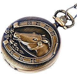 Pocket Watch Quartz Movement Bronze Horse Shoe Case Arabic Numerals with Chain Full Hunter Vintage Design PW-25