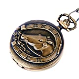 Pocket Watch Quartz Movement Bronze Horse Shoe Case Arabic Numerals with Chain Full Hunter Vintage Design PW-25