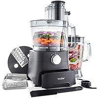 VonShef 1000W Food Processor - Blender, Chopper, Multi Mixer Machine with Dough Blade, Shredder & Grater – Includes Accessory Drawer