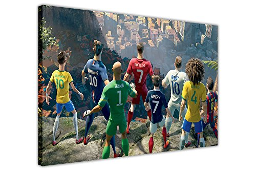 Leinwandbild mit animierten Fußballstars aus Brasilien, Heimdekoration, canvas holz, 9- A0 - 40