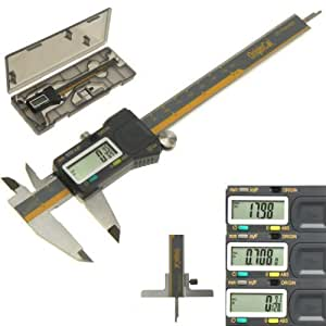 "iGaging ABSOLUTE ORIGIN 0-6"" Digital Electronic Caliper Inch / Metric / Fraction IP54 Protection Bonus: Depth Gauge Base by iGaging"
