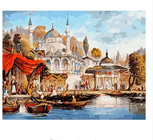 Yangll Kein Gestaltetes Strandboot DIY Malen Nach Zahlen Palace Ölgemälde Acrylfarbe Auf Leinwand Moderne Wandkunst Gift40X50Cm