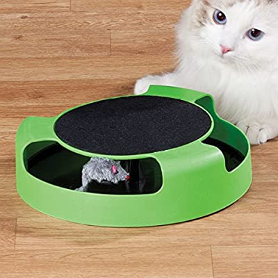 Prime Paws MEOW Cat Kitten Catch The Mouse Moving Play Toy Interactive Plush Scratching Claw Mat Shopmonk