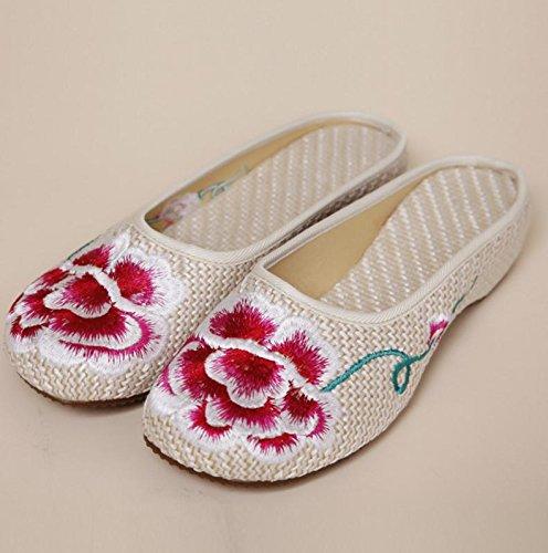 Chaussures Pivoines Y & M Brodées, Semelle Tendon, Style Ethnique, Tongs Femme, Mode, Confortables, Sandales Beiges.