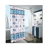 Daesar Vintage Duschvorhang aus Polyester-Stoff Fische Antischimmel 3D Duschvorhang 260x200 cm