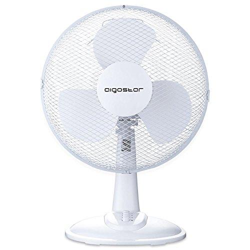 Aigostar Louis 33JTN - Ventilatore da tavolo, silensioso, 3 impostazioni di velocità, 40 Watt, 12 pollici, 2,2 kg, oscillazione di 80 gradi. Design esclusivo