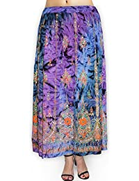 Fabcolors Casual Wear Full Length Rayon Flared Long Skirt With Sequence Embroidery Work ( Multi Color )