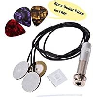 Pickup Piezo transductor para instrumentos de guitarra acústica, Micrófono Contacto 3 en 1 & Endpin Jack 6mm para Guitarra Violín Ukulele con 6 Plectro