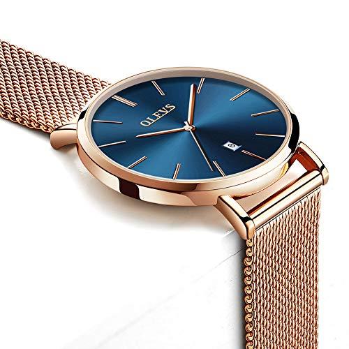 Reloj De Oro Rosa Para Mujer,Reloj Ultra Fino Para Mujer Con Esfera Azul,Relojes De Señora En venta Reloj De Pulsera De Malla De Acero,Inoxidable,Reloj De Vestir Fino De Moda De Mujer,Reloj Femenino