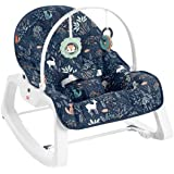 Fisher-Price Transat bébé évolutif 2-en-1 Bleu Forêt avec vibrations apaisantes et siège à bascule jeune enfant, jusqu'à 18 k