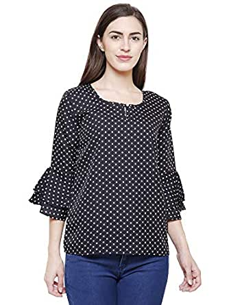 727ab79aaf3 ... FLICKZON Women Black Crepe dot Printed Bell Sleeve Western wear top  with Plus Size