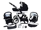 Chilly Kids 3 in 1 Kinderwagen Set Front Schwenkräder doppelt...