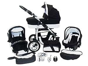 Chilly Kids Dino 3 in 1 Kinderwagen Set (Autosit & Adapter, Regenschutz, Moskitonetz, Schwenkräder) 01 Schwarz & Weiß