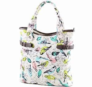 Ladies Womens Trendy Floral / Flower Canvas Shoulder Handbag with Faux Leather Trims Bag New