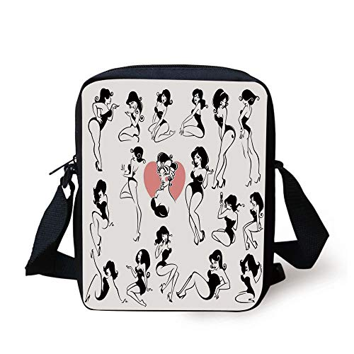 LULABE Girls,Famous Sexy Girl Model Posing with Full Body Features Heart Tattoo on Thigh Make Up,Black White Print Kids Crossbody Messenger Bag Purse