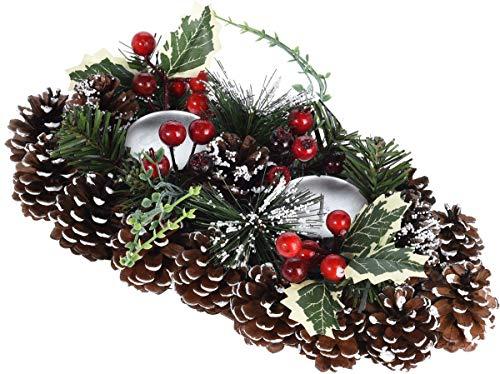 made2trade Weihnachtskranz - Kerzenhalter - aus natürlichen Materialien - Braun-Frost