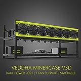 veddha Deluxe 8Gpu minercase V3D 8BAY Aluminium stapelbar Mining Rig Open Air Frame Case (Blackstorm/gelb)