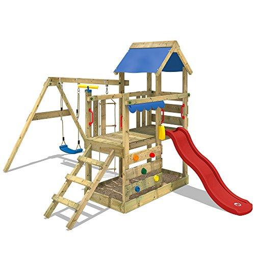 WICKEY Spielturm TurboFlyer Kletterturm Spielplatz mit Sandkasten Schaukel Kletterwand und Strickleiter, rote Rutsche + blaue Plane