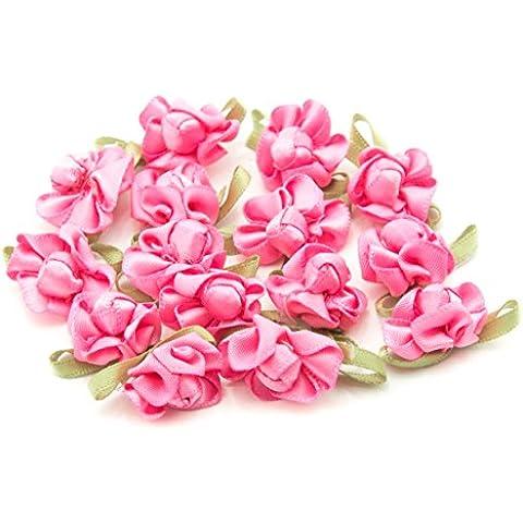 HAND H0681 Bastante arco de la cinta cose en el ajuste con la flor de la tela coloreada y Bud para la ropa del adorno de 23 mm x 18 mm Paquete de 20, rosa