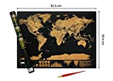 Deluxe Premium Scratchable World Map with Gold Foil Layer-World Map Poster with Free Scratch Pen, Fun Travel Gift-scratch off world Map -Large 82.5 by 59.4 Centimetre -Legacy Axis