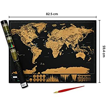 Deluxe premium scratchable world map with gold foil layer world map deluxe premium scratchable world map with gold foil layer world map poster with free scratch gumiabroncs Image collections